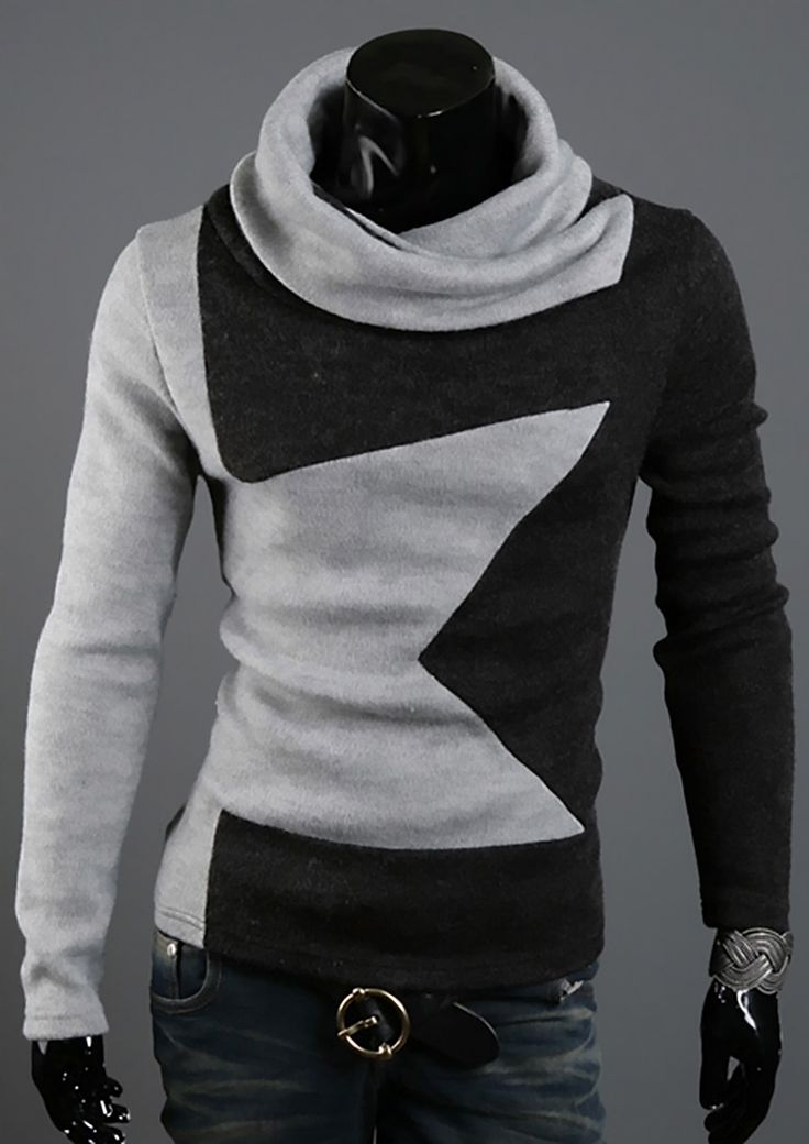 Top-Design-Mens-Turtleneck-Long-Sleeve-Jumper-Knitwear-sweater-Pullover-Tops