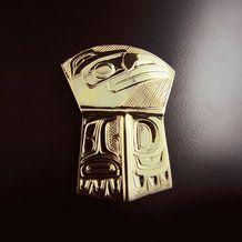 Large Gold Raven Copper Pendant by Carmen Goertzen