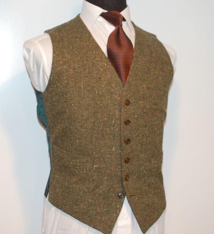 Vintage Brioni Mens Hunter Green Flecked Donegal Vest Waist Coat