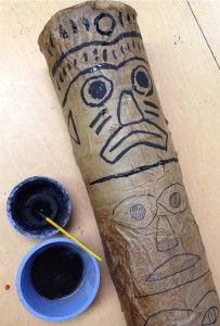 Coffee Can Totem Pole. Brown wrapping paper mached over large coffee cans. #papermache