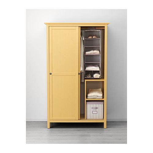 HEMNES Wardrobe with 2 sliding doors, yellow yellow 47 1/4x77 1/2