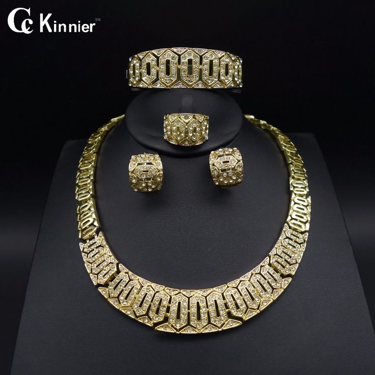 Exaggerate Dubai gold-color Fashion jewelry set Bridal African beads jewelry Necklace Bangle Earring Ring wedding jewelry set -- AliExpress Affiliate's buyable pin. Click the image to visit www.aliexpress.com