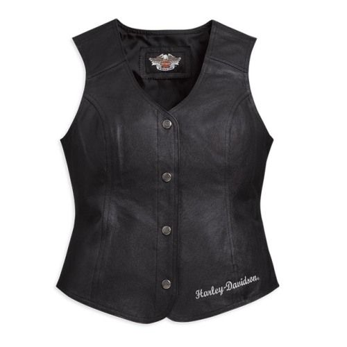 Harley Davidson Women's Patches and Pins Leather Vest