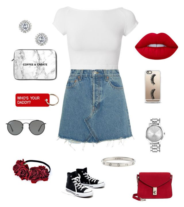 """""""#12"""" by dianatairum on Polyvore featuring Helmut Lang, RE/DONE, Madewell, MANGO, Nine West, Cartier, Ray-Ban, Casetify, Various Projects and Lime Crime"""