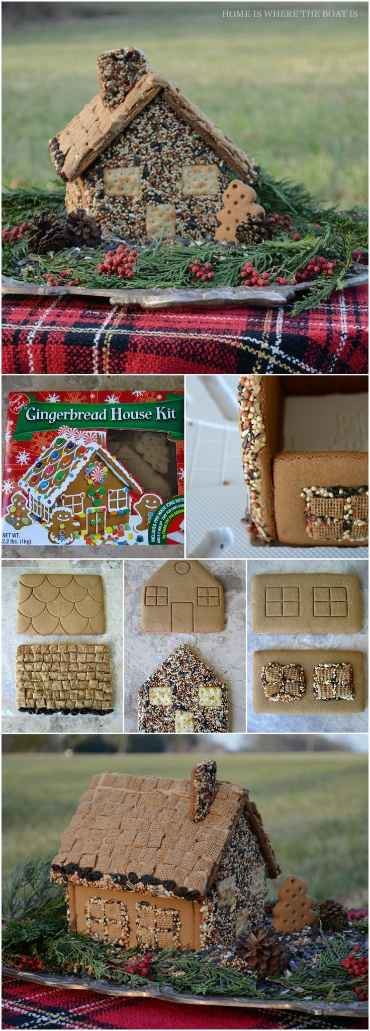 Gingerbread House Bird Feeder! A fun activity for the kids, using a combination of seed, crackers, nuts or dried fruit. Set it outside and wait for your feathered friends to enjoy their edible house! | homeiswheretheboatis.net