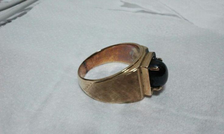 Sold Out !! Antique Black Sapphire & Gold Ring -- Stuffonline.ecrater.com