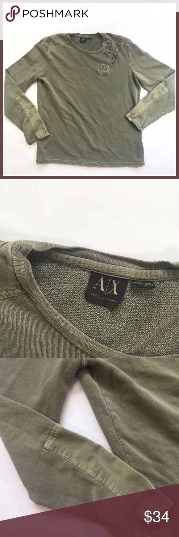 Armani Exchange Military Green Sweatshirt Top Awesome top from Armani Exchange in excellent condition. Size large and features patchwork on chest and sleeves. Logo across right shoulder. Pit to pit measures 23.5 inches and length is 27 inches. Thanks for looking! Armani Exchange Shirts Tees - Long Sleeve