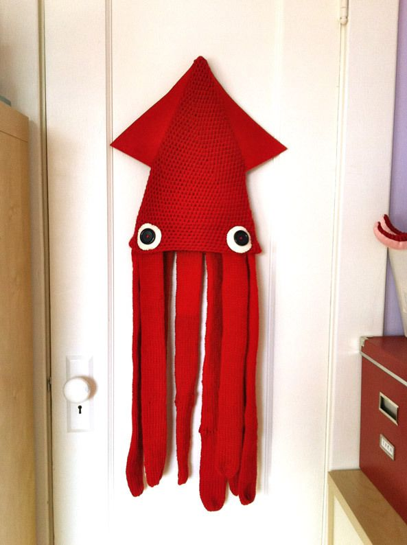 Squid Hat, made with a regular knit hat, tick felt and some buttons. The…