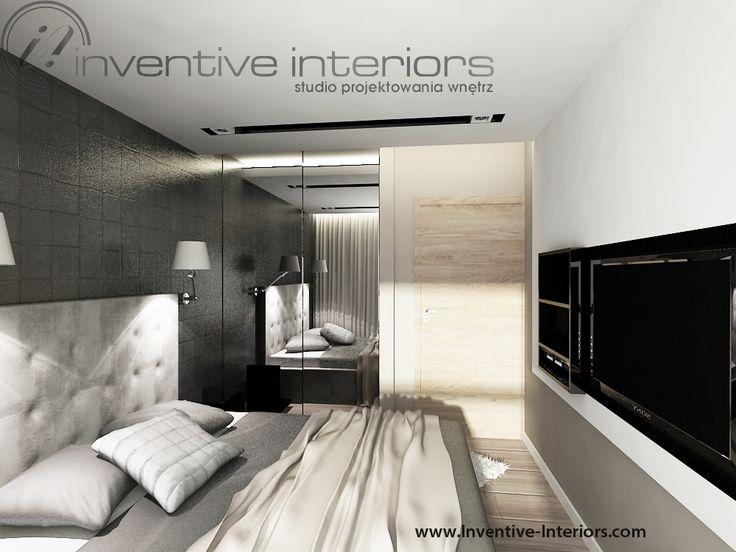 Projekt mieszkania Inventive Interiors - męska sypialnia - szarość czerń, jasne drewno - zabudowa z TV
