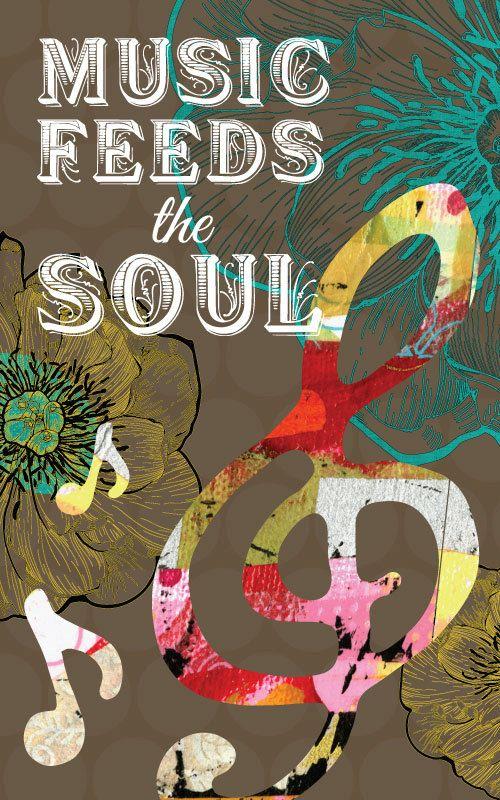 http://www.mamamusicians.com Music Notes, Music Art, Inspirational Art, Music Feeds the Soul, art print on wood by Jennifer McCully
