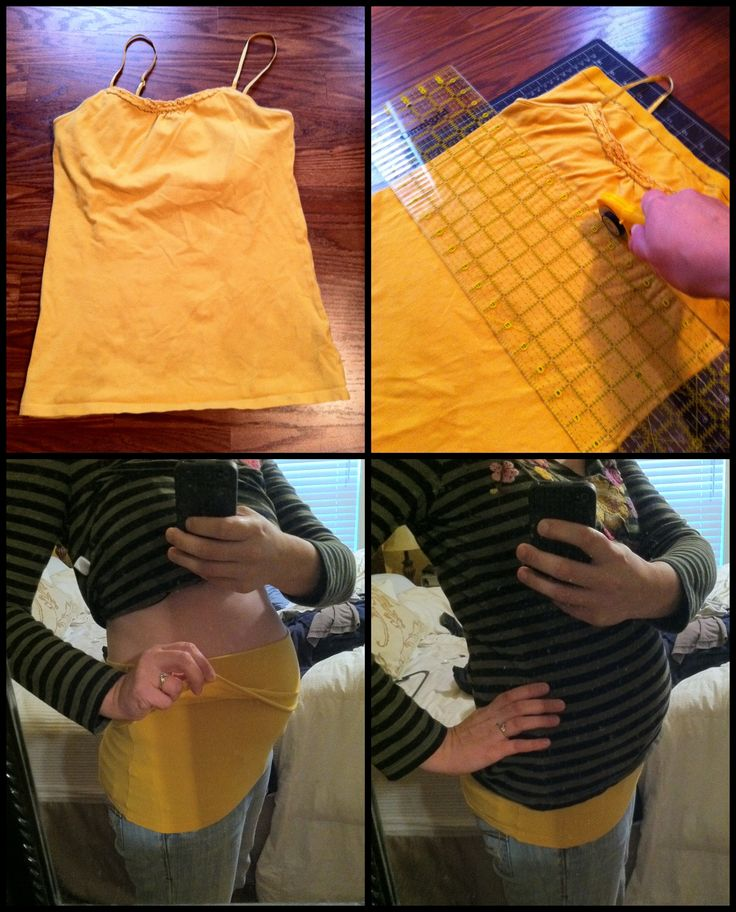 """Up-cycled a shelf tank, that I could no longer wear, into a """"belly band"""". Wish I had thought of this during my first 4 pregnancies, would have saved me a lot of money."""