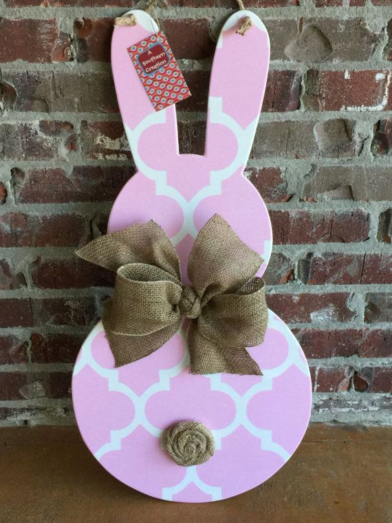 Wood Easter Bunny Door Hanger by ASouthernCreation on Etsy