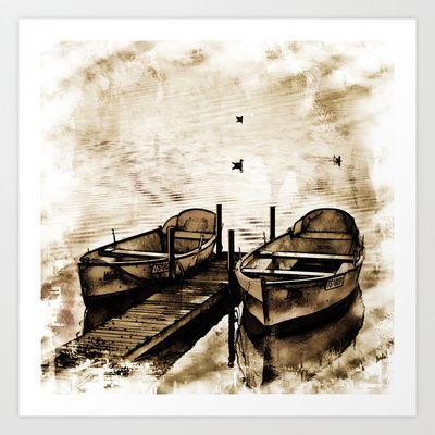 Twin Boats II Art Print by AngelEowyn - $17.16