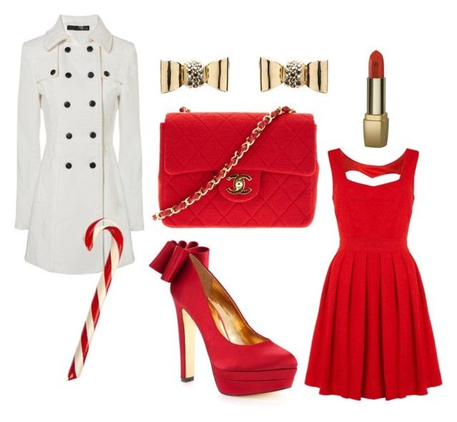 """Have Yourself A Merry Little Christmas"" by wtfab ❤ liked on Polyvore featuring Izabel London, Jane Norman, Ted Baker, Chanel, Mimco, Deborah, red dress, bows, chanel bag and red pumps"