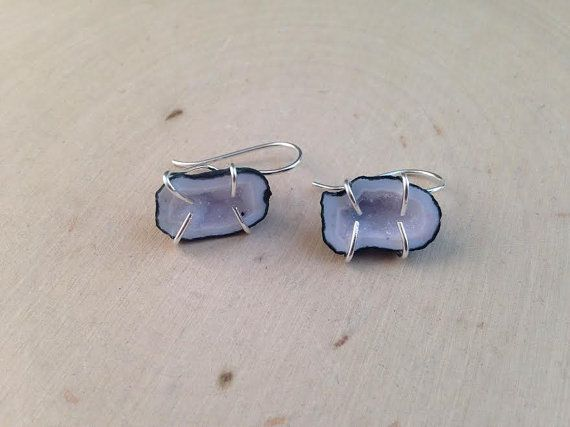 Geode Earrings / Raw Geode Earrings / Organic by MalieCreations
