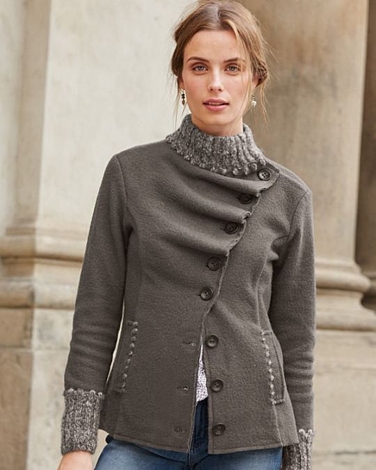 Ruffled Boiled Wool Jacket