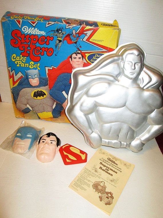 Vintage Superman Batman Wilton Cake Pan 1977 W by suburbantreasure