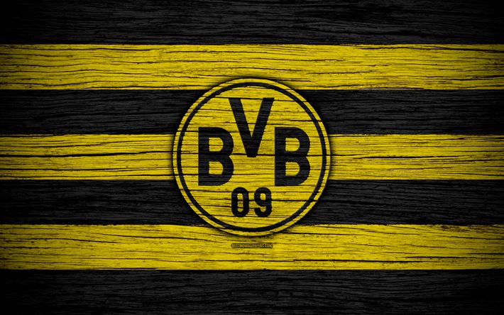 Download wallpapers Borussia Dortmund, 4k, Bundesliga, BVB, logo, Germany, wooden texture, FC Borussia Dortmund, soccer, football, Borussia Dortmund FC