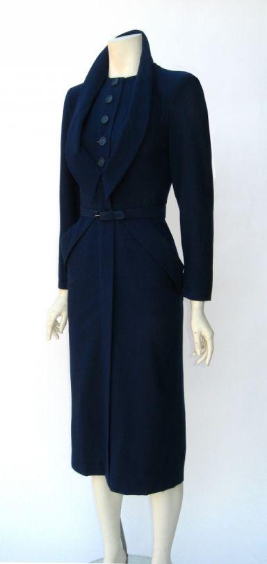 Vintage 1940s Dorothy O'Hara Navy Blue Wool Wiggle Dress