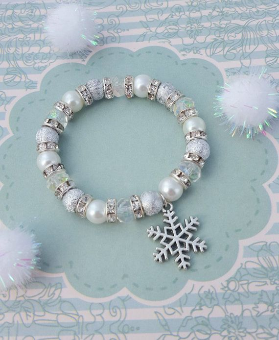 Snowflake Charm Bracelet, Kids Bracelet, Crystal Jewellery, Snowflake Jewelry, Children's Fashion, Gold Beaded Bracelet, Snow Charm, Silver