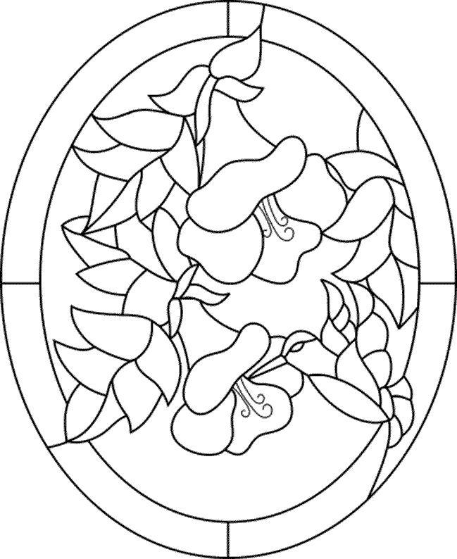 Картинки цветов распечатать для витража