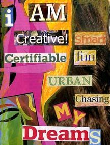 I AM...collage assignment to work on in sketchbook.  Finding words and pictures that describe them, things that they are interested in, etc.