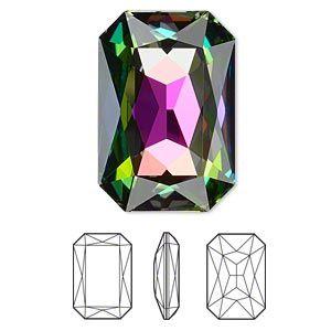 Embellishment, Swarovski crystal rhinestone, Crystal Passions®, crystal vitrail medium, 27x18.5mm faceted emerald-cut fancy stone (4627). Sold individually.
