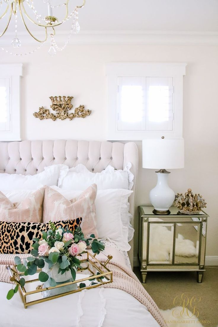The perfect teen girl bedroom! Gold, pink, white, leopard, roses, the perfect escape for any girl or any age! Favorite Posts 2017 + Happy New Year - Randi Garrett Design