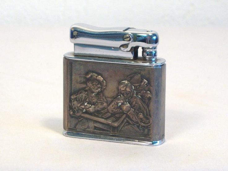 "Colibri ""MONOPOL"" Pocket Lighter with Card Scene Relief 1950's"