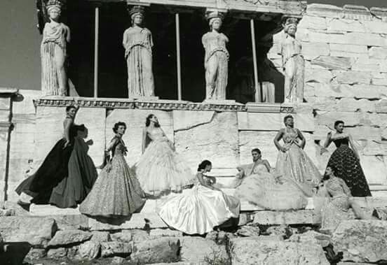 1951. Christian Dior's models photographed in Acropolis with background the Caryatids by Jean-Pierre Pedrazzini for Paris-Match.