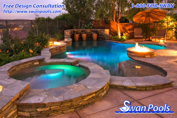 Swan pools custom design a glowing evening http for Pool design companies