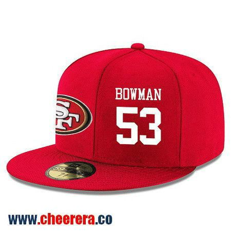 San Francisco 49ers #53 NaVorro Bowman Snapback Cap NFL Player Red with White Number Hat