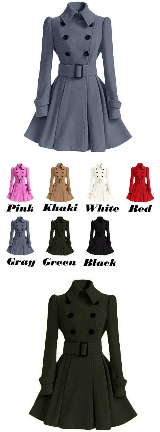Cute Fall Winter Middle Style Double-breasted Standing Collar Pleated Skirt Slim Woolen Overcoat for big sale!#overcoat #skirt #women #slim #collar #coat #jacket