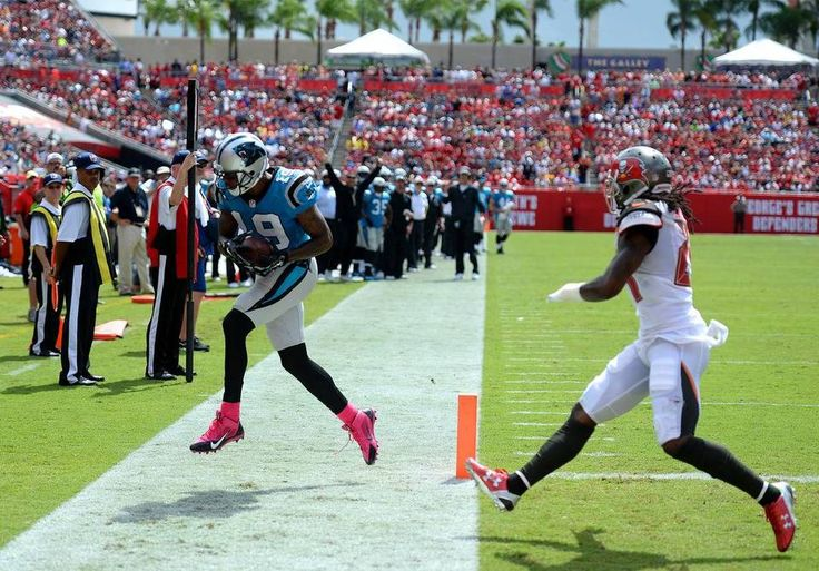 Carolina Panthers wide receiver Ted Ginn, Jr. catches a touchdown pass from quarterback Cam Newton during second quarter action vs the Tampa Bay Buccaneers on Sunday, October 4, 2015 at Raymond James Stadium in Tampa, Fl. The Panthers defeated the Buccaneers 37-23.