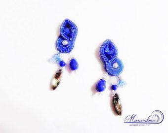 Pink earrings soutache earrings soutache by Marecalmojewels