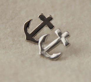 Coppia orecchini forma ancora a lobo color argento * still to lobe earrings