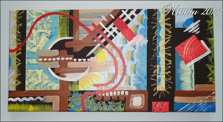 SPANISH GUITAR - Acrylics on black canvas