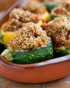 Provencal-style Stuffed 8-ball Zucchini (bought from a roadside fruit and veggie stand). I substituted whole wheat coucous for the bread crumbs. Recipe by Emeril Lagasse