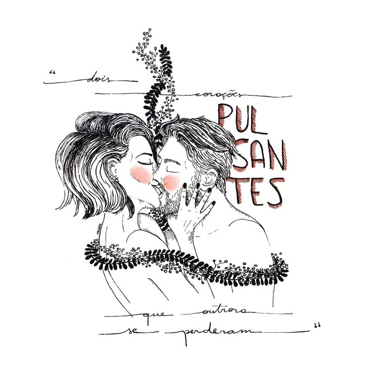 illustration woman man couple flowers ink