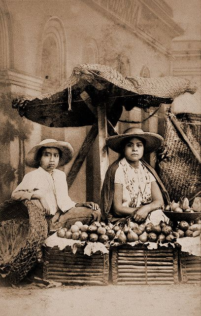 Mexican fruit dealers  From a scarce CDV album of mexican occupationals made by the studio Cruces y Campa in the 1860s. (Frutera) The album contains 40 views of occupations, vendors and marketeers, a portrait of a woman (maybe the owner) and a view of the three Naoleons. So maybe this album had been brought from Mexico by one of the soldiers of the emperor Maximilian.