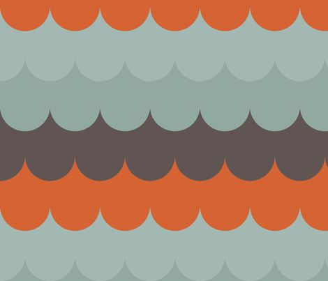 waves aqua orange fabric by holli zollinger on Spoonflower - to cover dining room chairs
