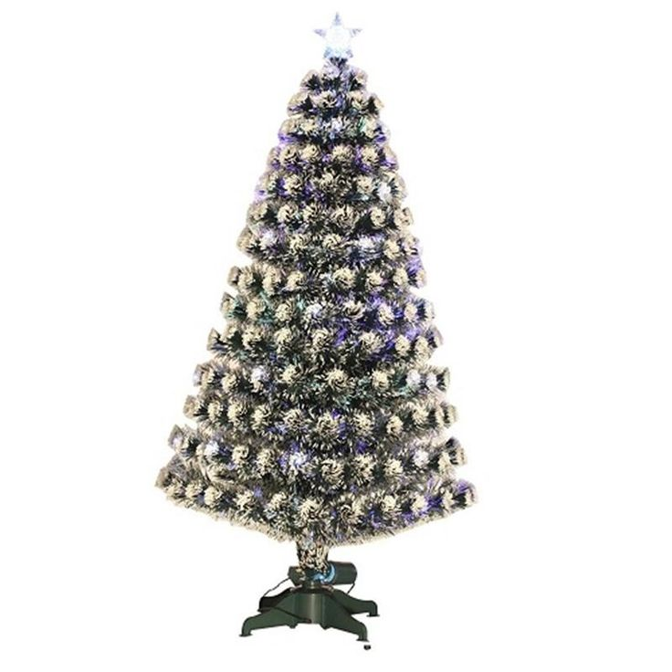 HOMCOM 4ft (120cm) Artificial Christmas Tree with Snow Effect and Lights | aosom.co.uk