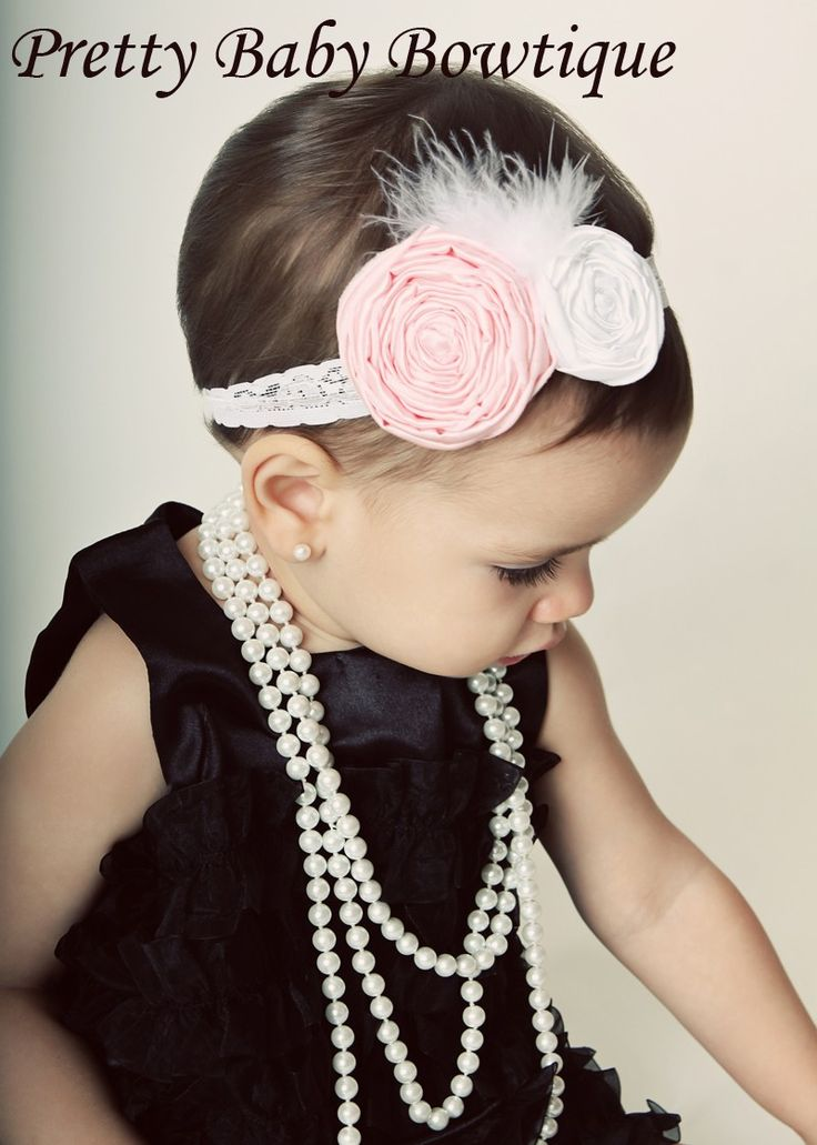 Baby Headband Vintage Baby Headband Pink by PrettyBabyBowtique