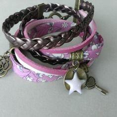 """Très mode le bracelet """"multi-rangs liberty"""" rose"""