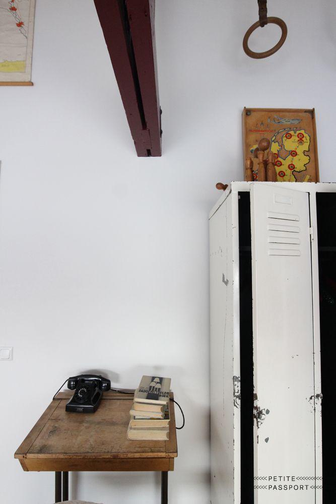 HELLO I'M LOCAL HAARLEM by petite passport - karien anne - minimal workspace / study space - wooden desk with old white locker