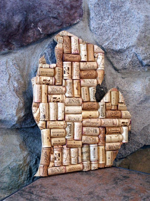 Michigan wine cork art. Home decor. Wine cork crafts
