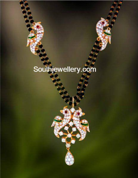 Black Beads Mangalsutra Chain with Diamond Peacock Pendant photo