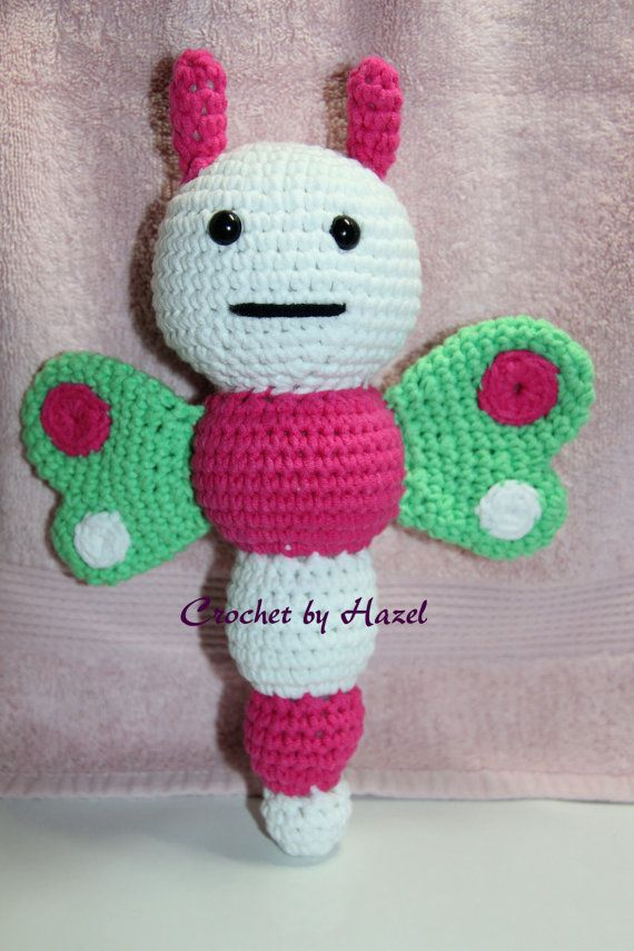 Crochet Butterfly Rattle by HazelCrochet on Etsy