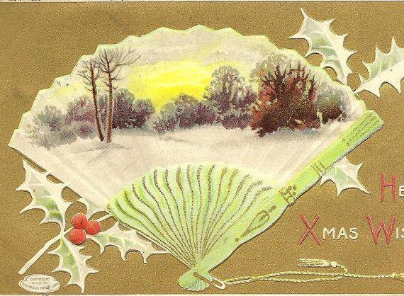 Hearty Xmas Wishes Winter Tree Scene in Fan by TheOldBarnDoor