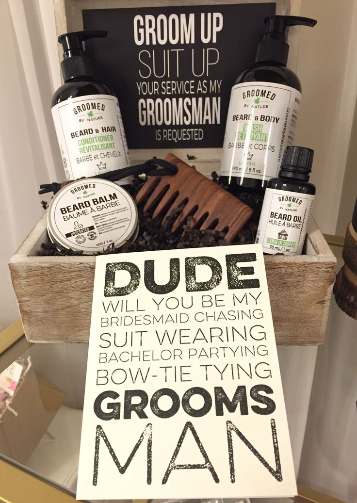 Our Bearded Groomsman Box, gift box for groomsmen, on display at Little Shop of WOW 's booth at the Elegant Wedding Show in Montreal. GROOM up SUIT up!